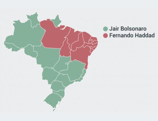 Mapa mostra Estados onde Jair Bolsonaro e Fernando Haddad tiveram mais votos nas eleições de 2018